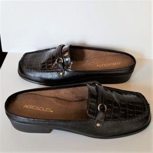 Aerosols Croc Embossed Leather Slides New Size 9.5